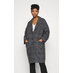 Levi's Cocoon Coat Wool Gray Black Caviar Plaid Houndstooth Long Classic Medium